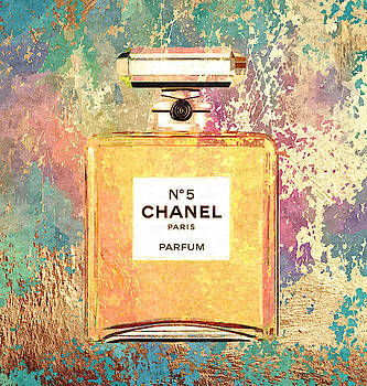 Chanel No5 Bottle Golden Abstract by Sandi OReilly