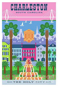 Charleston Poster - Retro Travel  by Jim Zahniser