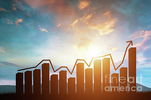 Chart with arrow rising on sunset mountains background. by Michal Bednarek