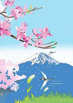 Cherry blossoms and wild birds by Ryuji Kawano