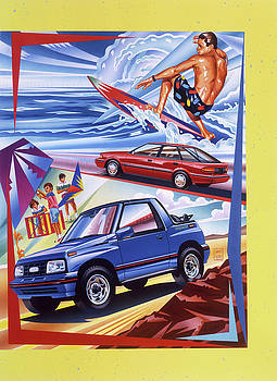 Chevrolet Tracker and Prism Surfer Scene by Garth Glazier