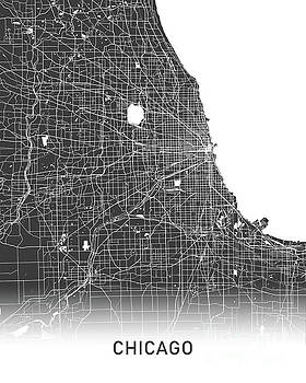 Chicago map black and white by Delphimages Photo Creations