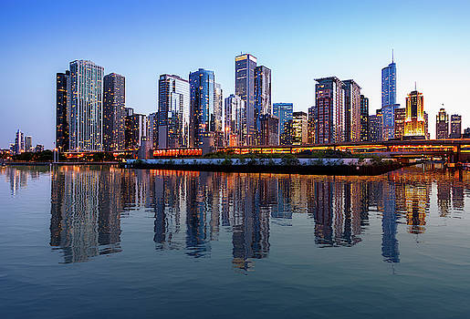 Chicago Skyline at sunset from Navy Pier by Steven Heap