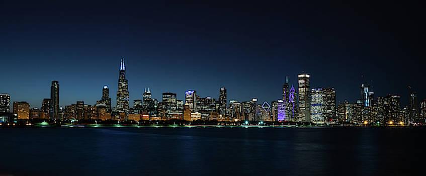 Chicago Skyline Panorama at Night by Steve Gadomski