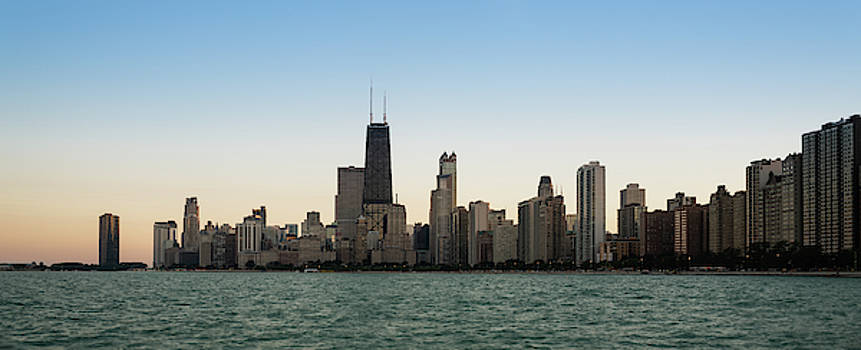 Chicago Skyline Sundown Panorama by Steve Gadomski