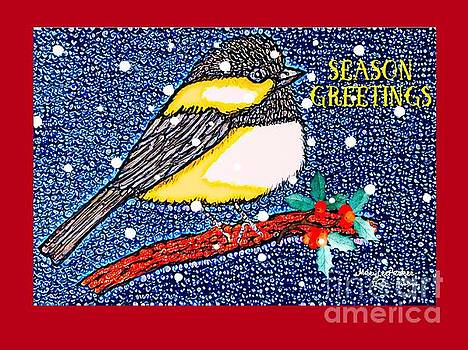 Chickedee Season Greeting Card  by MaryLee Parker