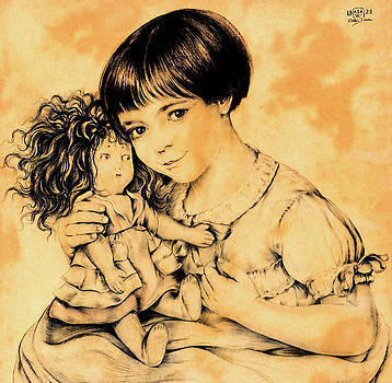 Child with a doll by Walter Sauer