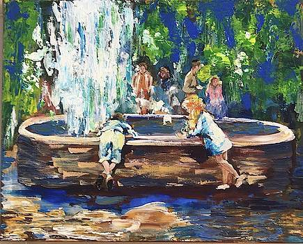 Children at the fountain by Vandana Dayal