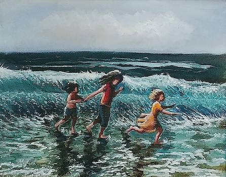 Children playing on the beach by Lilly Ramphal