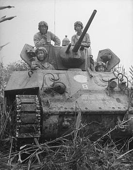 Chinese army in tank during Burma campaign by William Vandivert