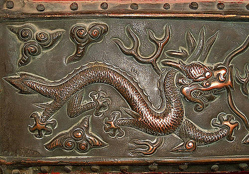 Chinese brass dragon relief, detail at the Forbidden City, Palace Museum, Beijing, China by Steve Clarke