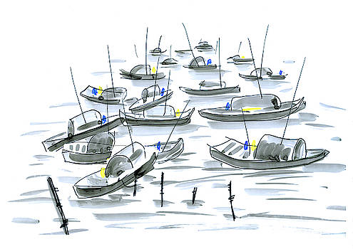 Chinese fishing boats in harbor by Steve Clarke