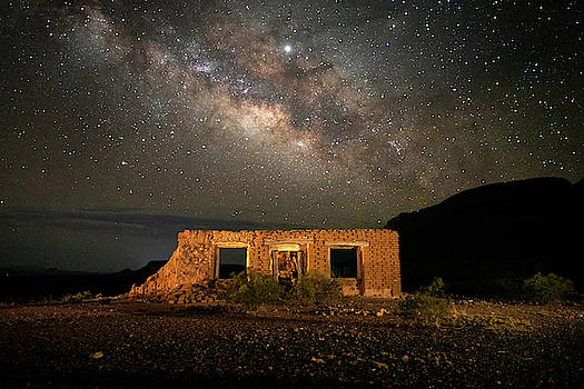 Chisos Mountain Homestead Under The Milky Way by Harriet Feagin