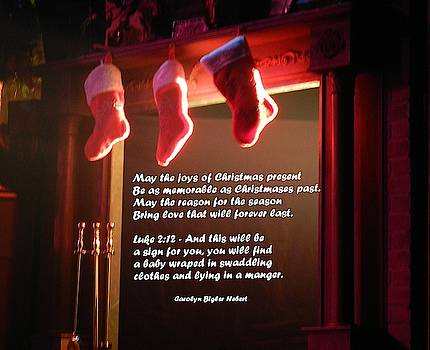 Christmas Blessing in Fireplace With Stockings by Carolyn Hebert