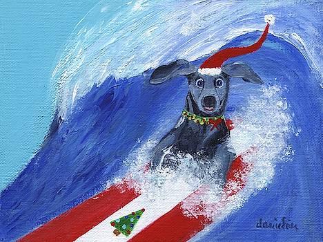 Christmas Surfing Weimaraner by Jamie Frier
