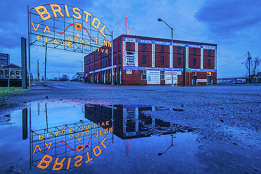 Christmas Tree and Bristol Sign Reflection by Greg Booher