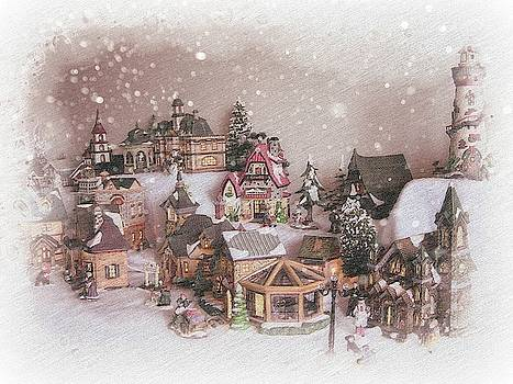 Christmas Village With Snow by Toni Abdnour