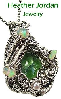 Chrome Diopside Wire-Wrapped Pendant in Antiqued Sterling Silver with Ethiopian Welo Opals by Heather Jordan