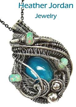 Chrysocolla Wire-Wrapped Pendant Necklace in Antiqued Sterling Silver with Ethiopian Welo Opals by Heather Jordan