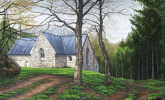 Church in Brittany France woods by Michael Parent