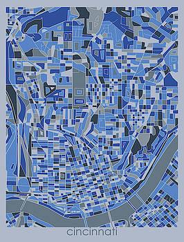 Cincinnati Map Retro 5 by Bekim M