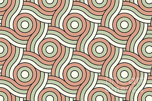 Circle Swirl Pattern Earthen Trail, Melon Green, and Dove White by Melissa Fague