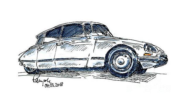 Frank Ramspott - Citroen DS 21 Classic Car Ink Drawing and Watercolor