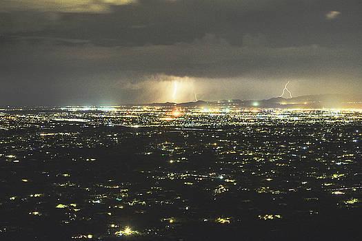 Chance Kafka - City lights of Tucson and Lightning Storm