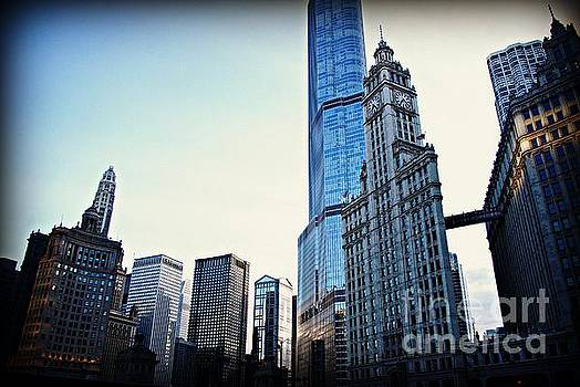 City of Chicago - Skyscrapers at Golden Hour Sunset by Frank J Casella