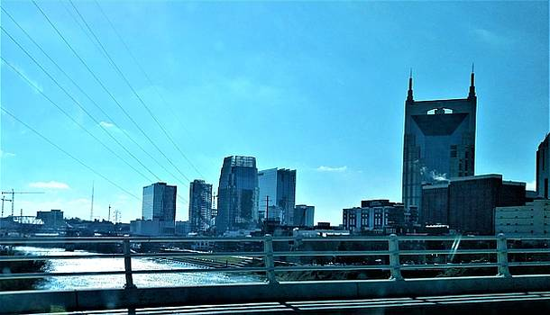 City of Nashville and Cumberland River by Peggy Leyva Conley