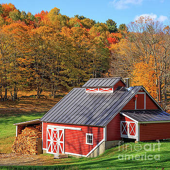 Classic Vermont Maple Sugar Shack Square by Edward Fielding