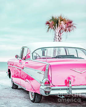 Classic Vintage Pink Chevy Bel Air Jap5  by Edward Fielding