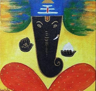 Classy Traditional Lord Ganesha Painting by Suchita Pawar