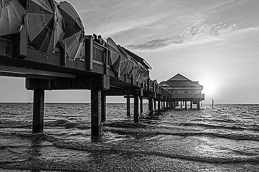 Toby McGuire - Clearwater Florida Sunset at the Pier FL Black and White