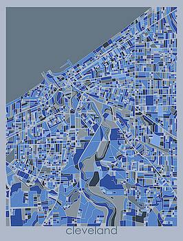 Cleveland Map Retro 5 by Bekim M