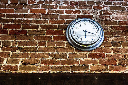 Clock On A Brick Wall by Jeanette Fellows