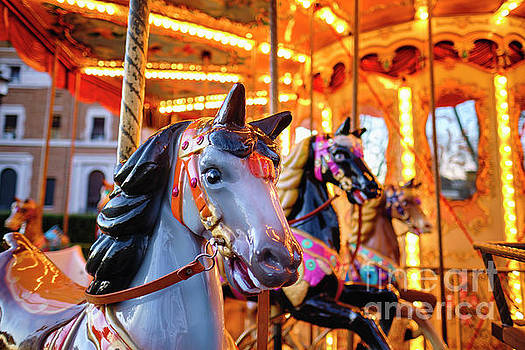 Close Up View of Horses on a Classic Carousel by George Oze