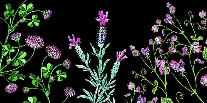 Clover Lavender And Sweet Pea Wildflowers by Irina Sztukowski