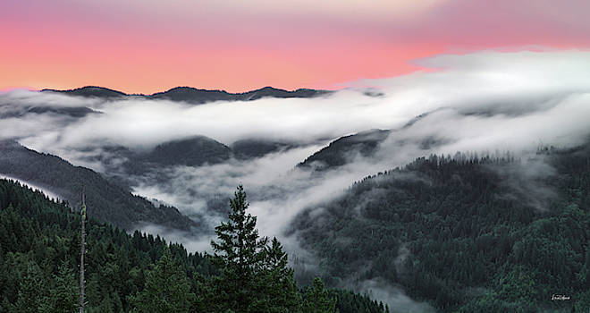 Coastal Range Sunrise Panoramic by Leland D Howard