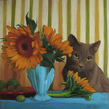 Coco and Sunflowers by Diane Hoeptner