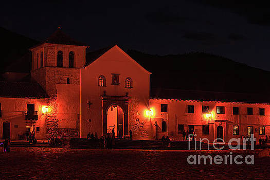 Colombia, South America - Villa de Leyva, Plaza Mayor And Church At Night by Devasahayam Chandra Dhas