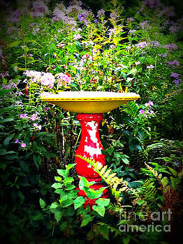 Frank J Casella - Color Birdbath with Flowers