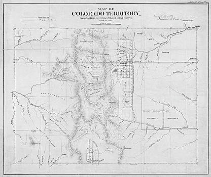Toby McGuire - Colorado 1861 Territory Map Historical Map Black and White
