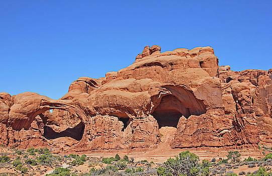 Colorado Arches Park Landscape Scrub Red Rocks Blue Sky 3340 by David Frederick