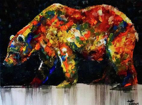 Colorful Bear Painting Night Stroll by Jennifer Morrison Godshalk
