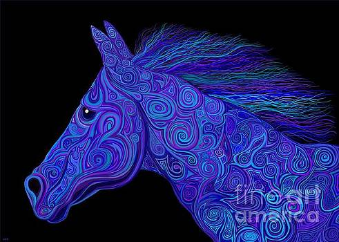 Colorful Blue Stallion by Nick Gustafson