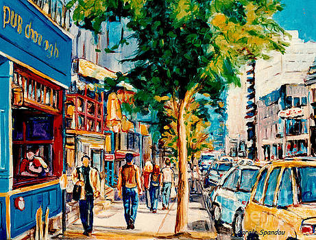 Colorful Cafe Painting Irish Pubs Bistros Bars Diners Delis Downtown C Spandau Montreal Eats         by Carole Spandau