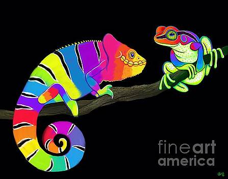 Colorful Chameleon and Frog by Nick Gustafson