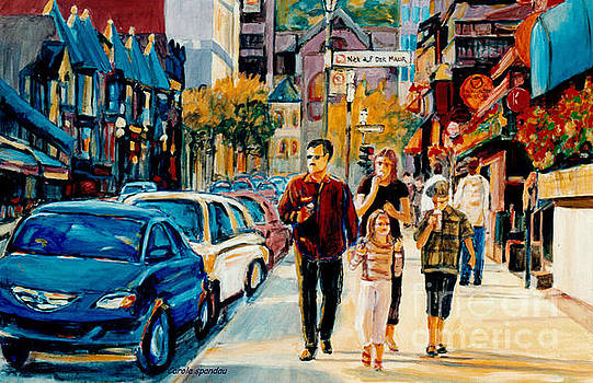 Colorful Downtown City Scene Painting Family Stroll Summer Streets C Spandau Urban Canadian Artist by Carole Spandau