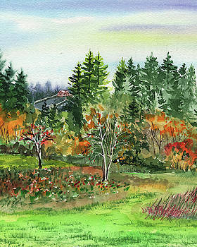 Colorful Fall Watercolor Landscape by Irina Sztukowski